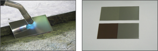 Evaluation of color changes using burner on plates with and without coatings<br /> (left: without coating right: with coating)