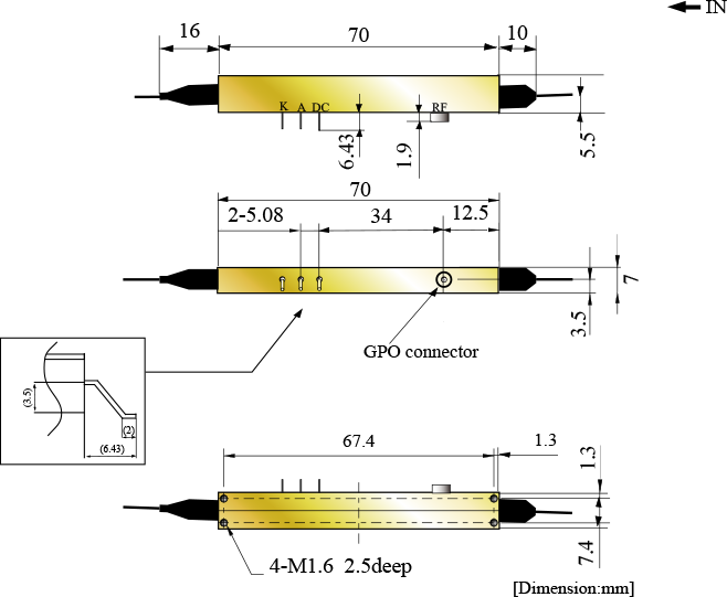 低駆動電圧 10Gbit/s LN強度変調器(シングル電極型)