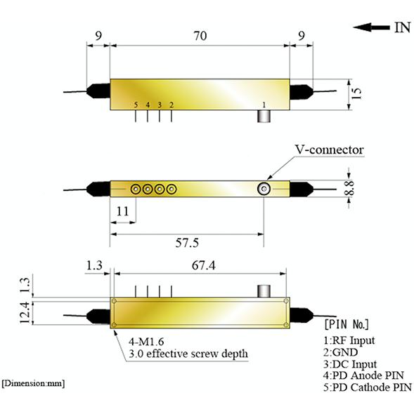 40Gbit/s LN強度変調器(ゼロチャープ型、Vコネクター)